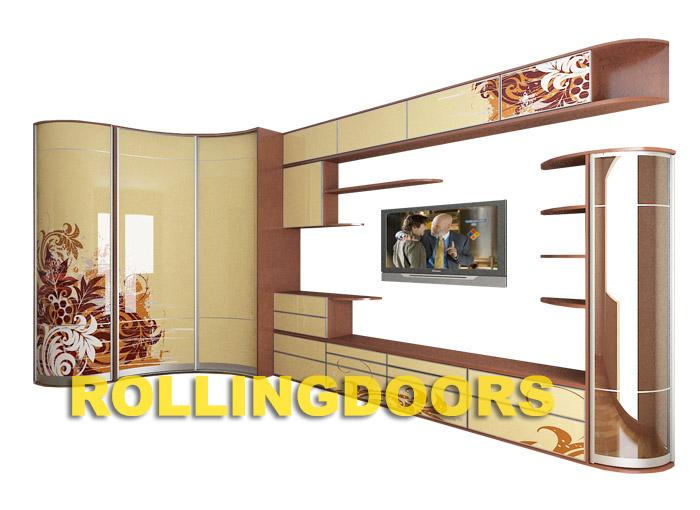 Угловой радиусный шкаф-купе в гостиную с тумбой тв роллингдо.