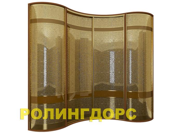 Угловой радиусный шкаф-купе в золотой коже rollingdoors.ru.