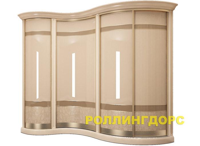 Радиусный шкаф-купе в спальню в классическом стиле rollingdo.