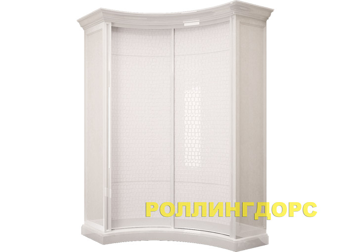 Угловой радиусный шкаф в спальню классическом стиле.