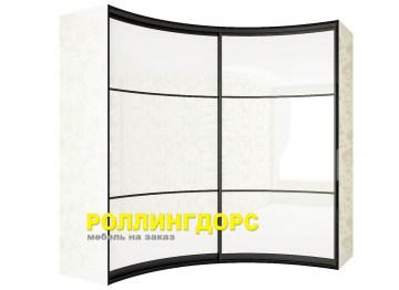 Радиусный шкаф-купе в белом глянце в спальню на заказ в моск.