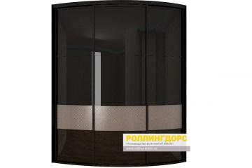 Угловой черный глянцевый радиусный шкаф в москве ролингдорс.